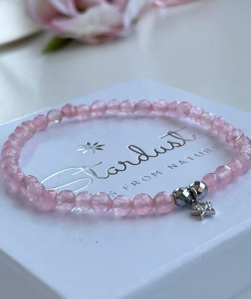 Minimalist Rose Quartz bracelet with charm