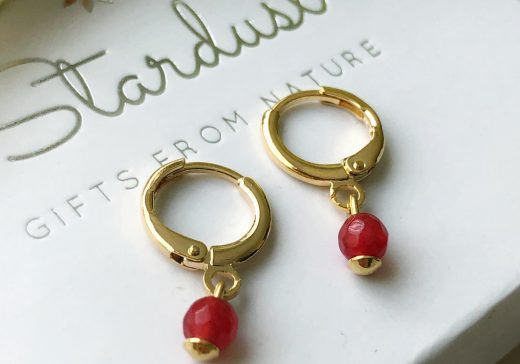 gold with ruby stone earrings