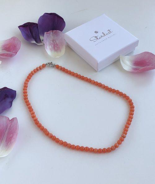 Orange beaded cat eye necklace