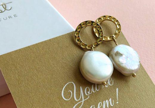 Flat Pearl Earrings stardust
