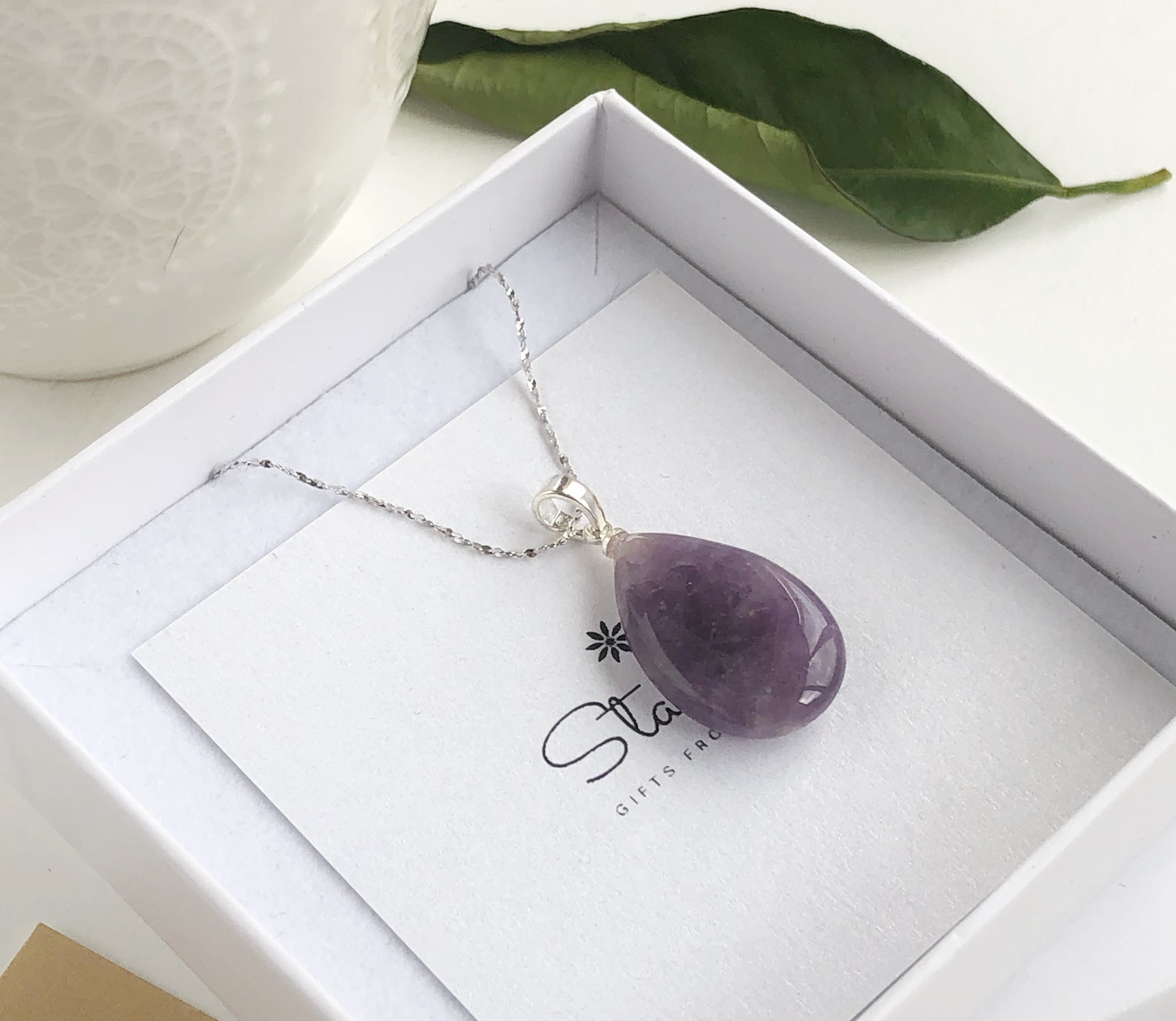 The Calming Gemstone.925 Silver Plated Amethyst Heart Necklace /& Pendant 45cm