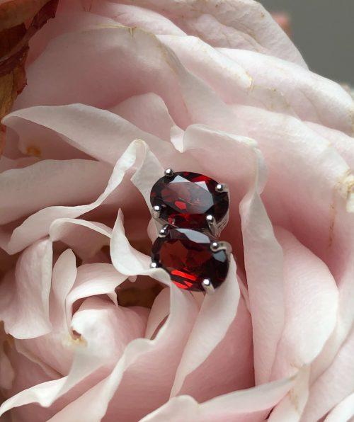 Red Garnet oval stud earrings Stardust