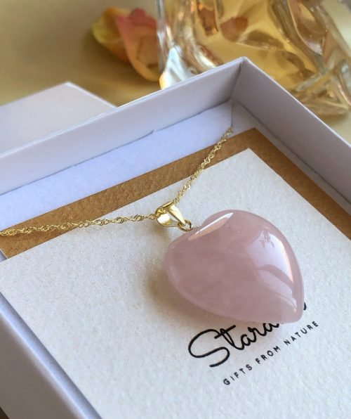 Gold chain Rose Quartz heart pendant