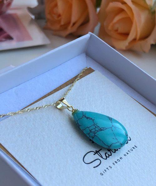 Luxury Turquoise pendant gold chain Stardust