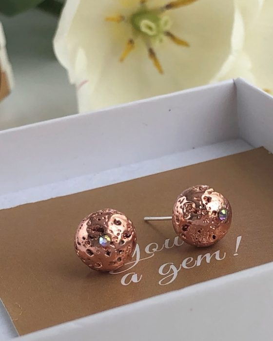 Rose gold Lava stone studs