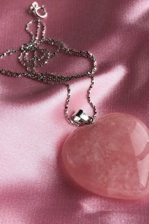 Quality Large Rose Quartz Heart pendant
