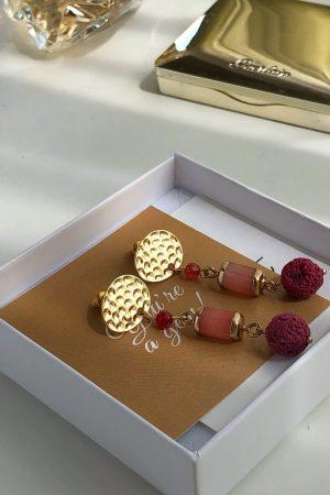 pink gemstone earrings for girl