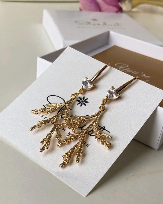 Gold brush earrings stardust