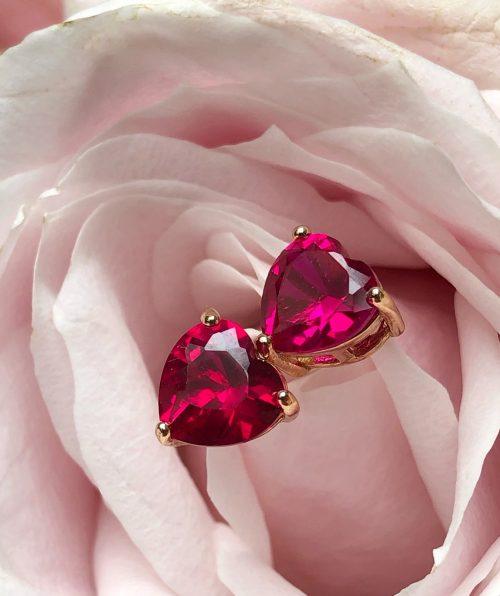 Pink Ruby heart earrings