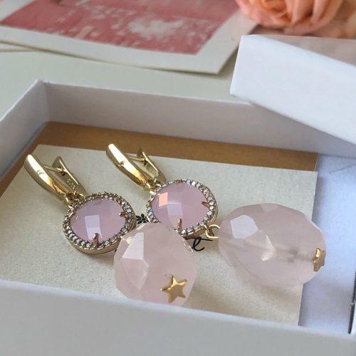 Gold and Genuine Rose Quartz earrings