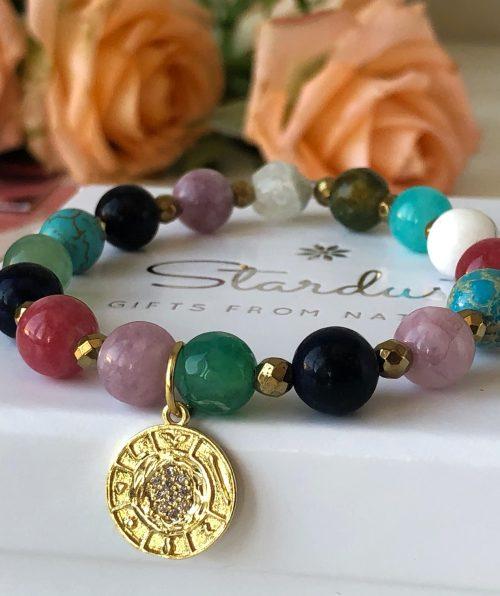 Gold coin natural stone bracelet