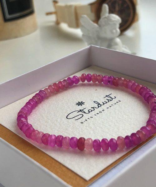 Pink Tourmaline beaded bracelet