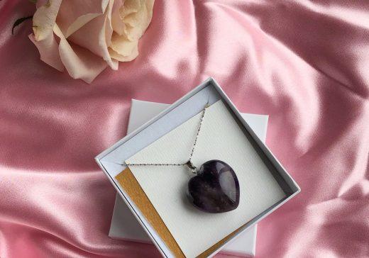 Purple Amethyst Heart pendant Stardust
