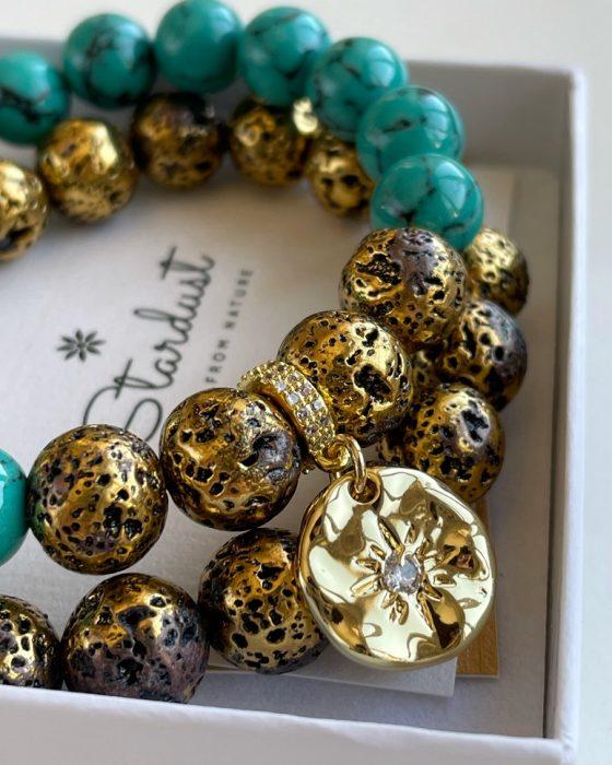 Gold coin charm bracelet for her