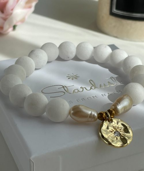 White Coral Bracelet with coin charm