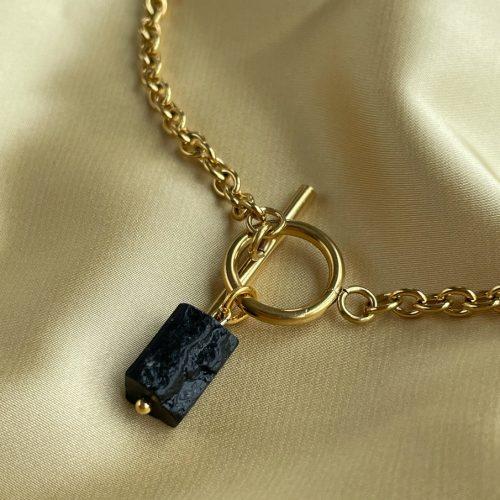 Natural shungite necklace women