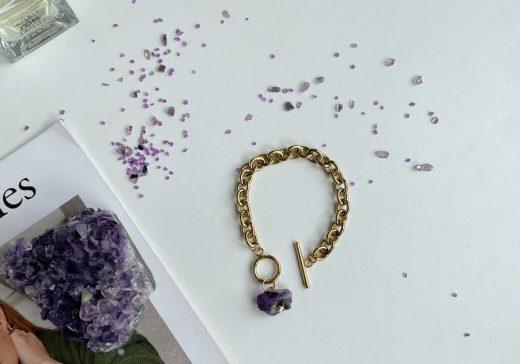 Raw Amethyst Bracelet Gold chain
