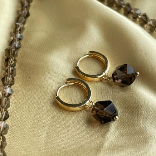 Smoked Quartz gold earrings
