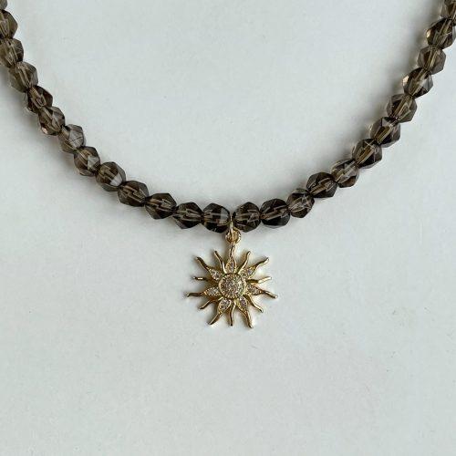 Sun charm necklace smoky quartz