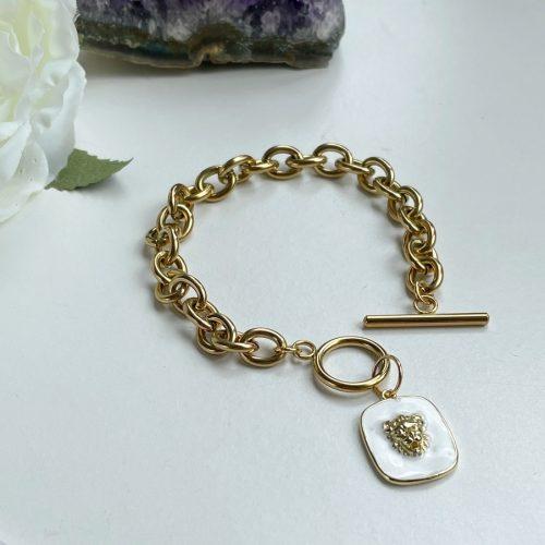 White enamel gold bracelet for her