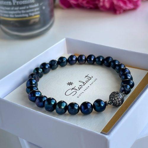 Natural black pearl bracelet for her