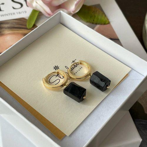 Shungite hoop earrings