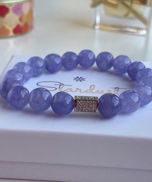 Stardust gift Lavender Jade beaded bracelet