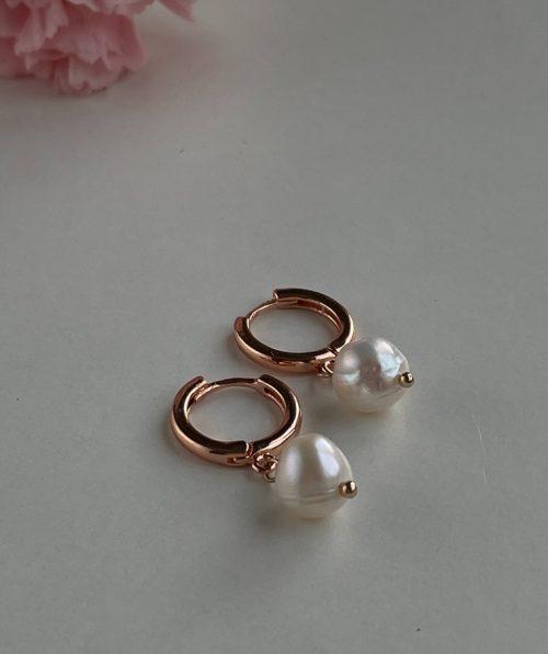 Rose gold hoop pearl earrings