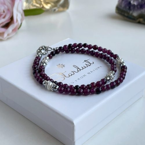 Double wrap Amethyst bracelet with perals