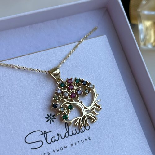 Gold Tree of life pendant Stardust gift