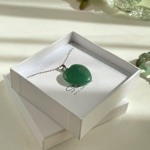 Green Jade heart pendant Stardust gift