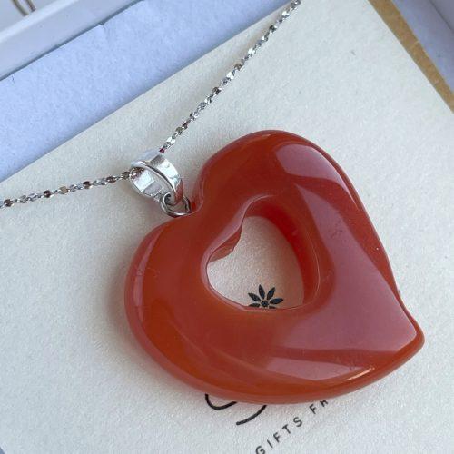 Hand carved Carnelian heart pendant