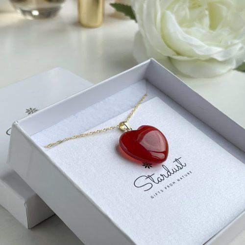 Orange heart carnelian gift box