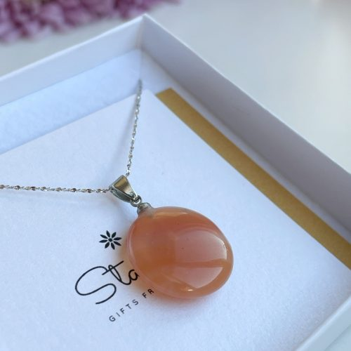 Round flat Carnelian pendant milky orange gemstone