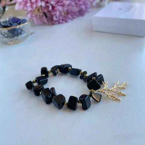 Tumbled Obsidian bracelet with gold hematite