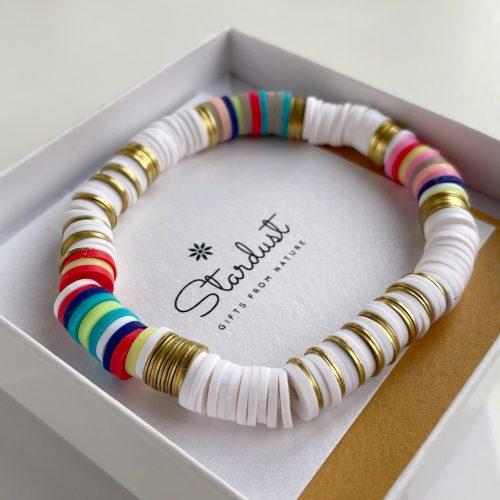 White Heishi bead bracelet for her